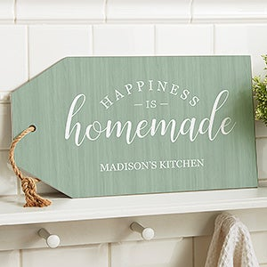 Personalized Wall Art Wood Tag - Happiness Is Homemade - 19190