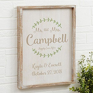 Buy personalized wedding wall art mounted in a beautiful rustic whitewashed frame. Add names u0026 wedding date. Free personalization u0026 fast shipping.  sc 1 st  Personalization Mall & Mr u0026 Mrs Personalized Whitewashed 14x18 Frame Wall Art - Wedding Gifts