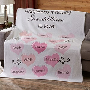 Personalized Parent & Grandparent Sweatshirt Blanket - Happiness - 19254