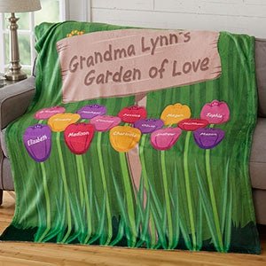 Personalized Fleece Blanket - Grandma's Garden - 19261