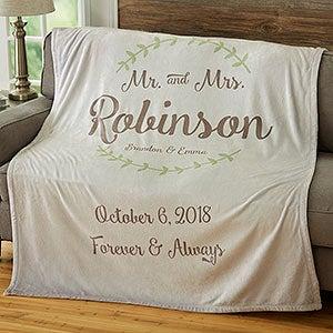 Personalized Wedding & Anniversary Blankets - Mr & Mrs - 19268