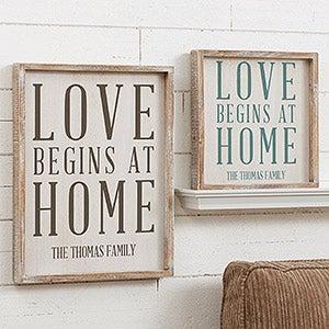 Custom Barnwood Wall Art - Love Begins At Home - 19273