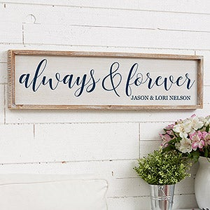 Personalized Barnwood Wall Art - Always & Forever - 19291