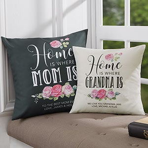 Home Is Where Mom Is Personalized Throw Pillows - 19324