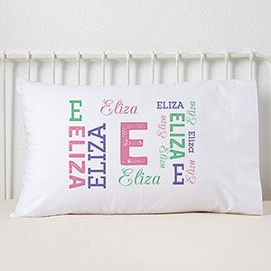 Personalized Kids' Pillowcases - Repeating Girl Name - 19325