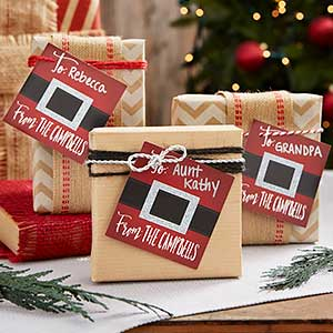 Personalized Holiday Gift Tags - Santa Belt - 19335