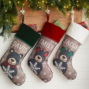 Personalized Christmas Stockings - Holiday Bear Family - 19348
