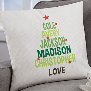 Personalized Christmas Family Tree Pillows - 19383