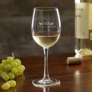 Personalized Business Logo 12oz. White Wine Glasses - 19397