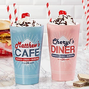 Personalized Pint Glasses - Vintage Diner - 19408
