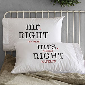 Mr Amp Mrs Right Personalized Pillowcases