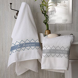 Geometric Pattern Personalized Terry Bath Towel - 19433