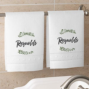 Personalized Linen Guest Towels - Cozy Home - 19435