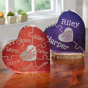 Personalized Color Heart Puzzle Keepsake - Love You To Pieces - 19439