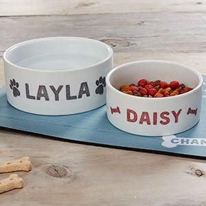 Personalized Dog Bowls - Farmhouse Design - 19441