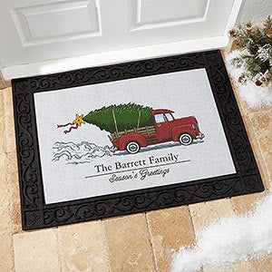 Personalized Christmas Doormats - Vintage Red Truck - 19464