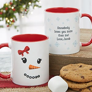 Christmas Mugs.Snowman Character Personalized Christmas Mug 11oz Red