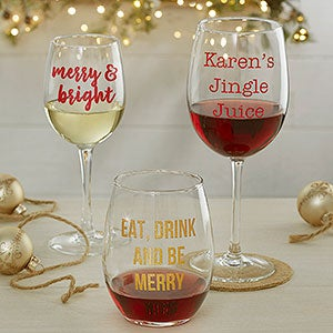 Personalized Christmas Wine Glasses - 19499