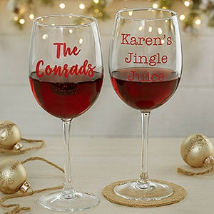 personalized christmas wine glasses 19499