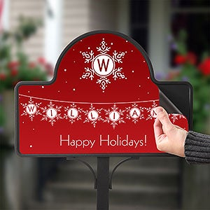 Personalized Garden Stake - Holiday Snowflakes - 19526