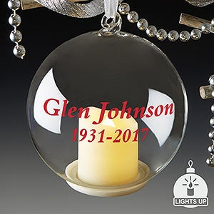 Personalized Light Up Glass Ornaments - Memorial - 19539