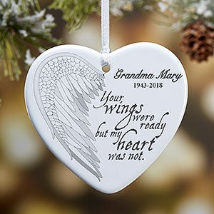 buy personalized memorial christmas ornaments with our angel wings design add any photo text free personalization fast shipping - Christmas Decorations In Memory Of A Loved One