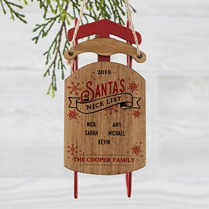 Personalized Vintage Sled Ornament - Santa's Nice List - 19561
