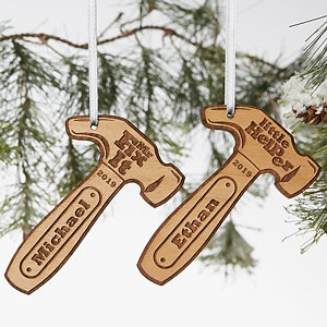 Engraved Wood Ornaments - Mr. Fix-It Hammer - 19562