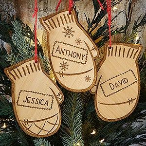 engraved christmas ornaments family winter mittens 19563
