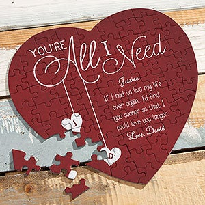 Personalized Heart Puzzle - You're All I Need - 19571