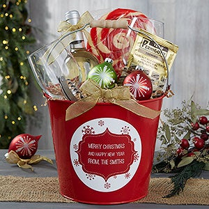 Personalized Red Metal Gift Bucket - Christmas Snowflakes - 19592