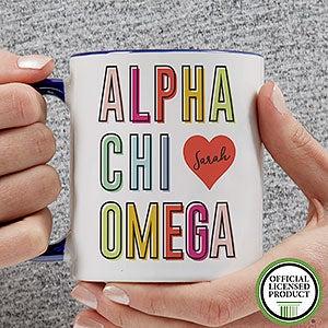 Personalized Sorority Mugs - Alpha Chi Omega - 19599