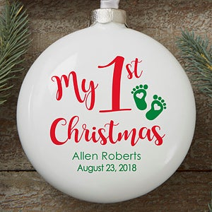 my 1st christmas deluxe personalized baby ornament on sale today - Babys First Christmas Photos