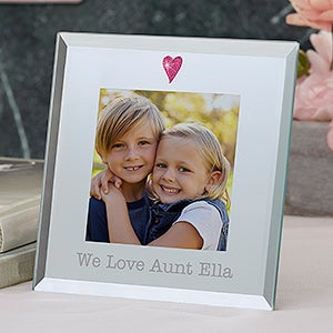 Personalized Glass Heart Mini Picture Frame - 19619