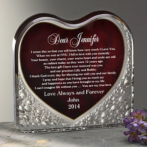Personalized Love Letter Keepsake Gift - Red Heart Shape - 1963