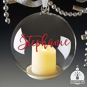 buy personalized christmas ornaments that light up add any text choose from over a dozen text colors free personalization fast shipping
