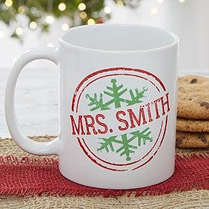 Personalized Coffee Mugs - Snowflake Greetings - 19643
