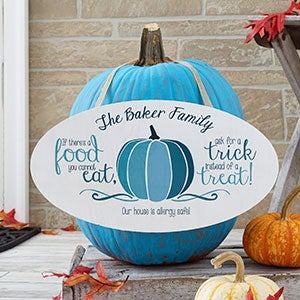 Personalized Halloween Blue Teal Pumpkin Sign - 19651