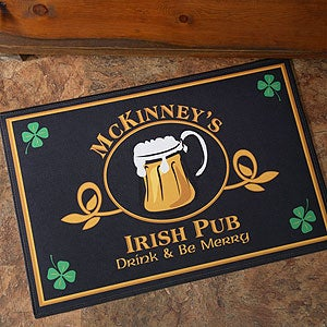 Personalized Irish Pub Door Mat - Four Leaf Clover Design - 1966
