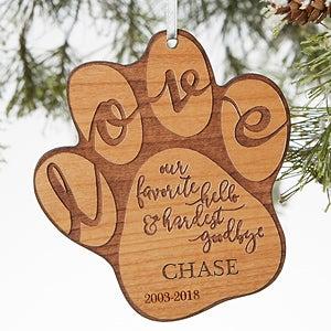personalized pet memorial ornament hardest goodbye