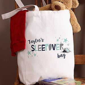 Personalized Sleepover Tote Bag For Boys - 19672