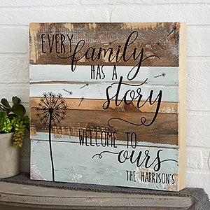 Family Story 12x12 Personalized Reclaimed Wood Wall Art