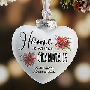 Personalized Heart Ornament for Her - Poinsettia - 19703