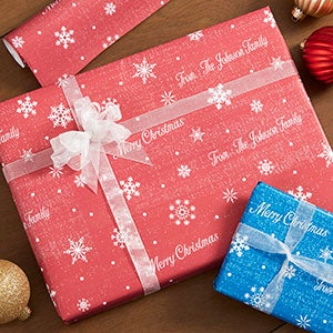 Personalized Holiday Wrapping Paper - Snowflakes - 19728