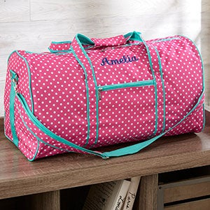 Embroidered Girls Duffel Bag - Pink Polka Dot - 19748