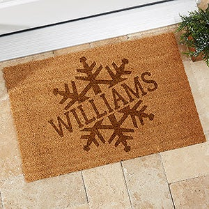 Personalized Snowflake Holiday Coir Doormat - 19820
