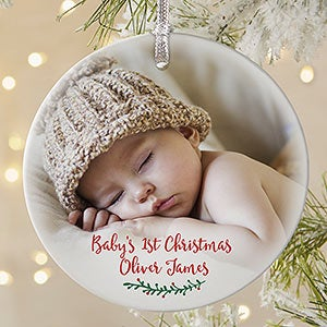 Personalized Baby Photo Ornament - Holly Branch - 19829