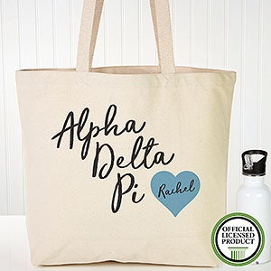 Personalized Alpha Delta Pi Sorority Canvas Tote Bag - 19833