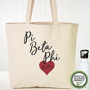 Personalized Pi Beta Phi Sorority Canvas Tote Bag - 19869