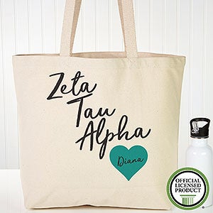 Personalized Zeta Tau Alpha Sorority Canvas Tote Bag - 19873